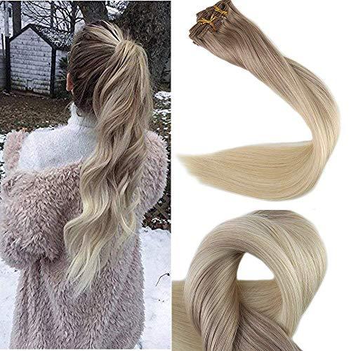 Full Shine 18 Zoll 10Pcs 120g/Set Clip in Extensions Kunsthaar Farbe 18 Fading to Farbe 60 Platinum Blonde Haarclips Verlängerung Echthaar