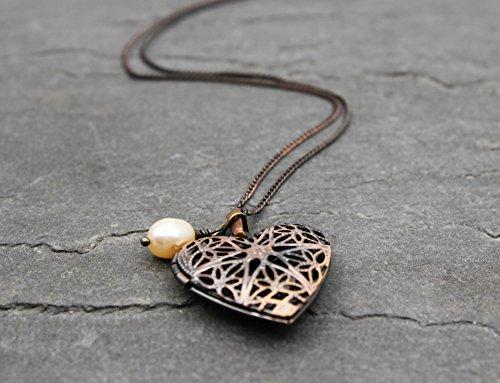 Damen Medaillon Herz Halskette Kette Anhänger Talisman Amulett Vintage Echte Perle Handmade Schmuck