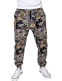 Pantalones de Chándal Pantalones Deportivos Pantalones de Yoga Bohemia Anchos Casual y Cómoda para Hombre