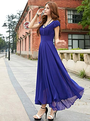 royal blue long dress with cape sleeve fashion designer