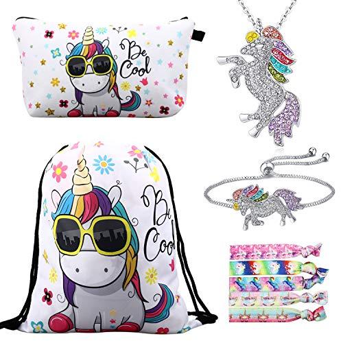 Einhorn Geschenke für Mädchen 5 Pack, Einhorn Kordelzug Rucksack/Make-up Tasche/Halskette Legierung Kette/Armband/Haargummis