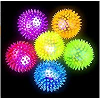 ABCMOS Mascota Vocabulario Intermitente Spiky Ball Dog Soft Rubber Toy Glare Glare Magic Ball * 1