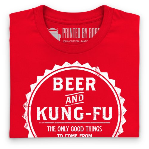 Beer and Kung Fu T-shirt, Uomo Rosso