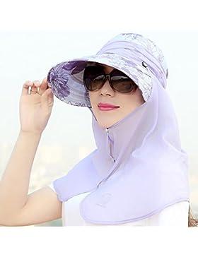 MSZYZ*Hat rostro femenino cubre protector solar UV sombrero para el sol de viajes de ocio en la playa Hat todos-match...