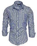 Amaci&Sons Herren Kariertes Slim-Fit Trachtenhemd Bügelleicht Oktoberfest Karo Hemd 5006 Royalblau M