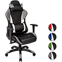 TecTake Poltrona sedia direzionale da ufficio racer racing classe di lusso con supporto lombare - (Sedia Da Ufficio Poggiatesta)