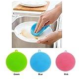 Eizur in Silicone multiuso, spazzola per lavastoviglie/frutta/verdura-Detergente, resistente al calore, isolamento e guanti da cucina-Pentola/padella a-Spazzola per ciotola Blue+Green+Pink