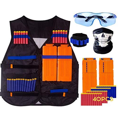 Kinder Taktische Weste, Taktische Weste Jacke Kit für Nerf Gun N-Streik, Nerf Zubehör Set mit 40 Darts Nachfüllpack, 2 Clip für 12 Darts, 1 Armband für 8 Darts, 1 Gesichtsmaske und 1 Nerf Brille (Nerf Im Streik)