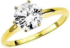 Idea Regalo - Amor - Anello in oro giallo con zirconia, donna, bianco, 14