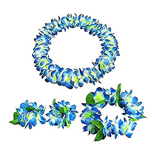 aoory 4 Stück Hawaii Kranz Lei, Luau gerüschte Blumengirlande Halskette Stirnband Armband für Party blau