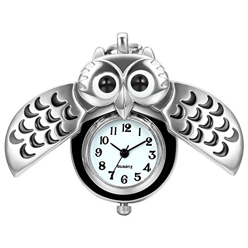 JewelryWe Niedlich Eule Taschenuhr Analog Quarz Kettenuhr Uhr Anhänger Halskette Kette Silber