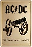'Cartel de Chapa de AC DC For Those About to Rock 20 x 30 cm Diseño Retro 1136