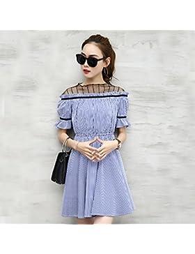 Verano moda coreana de Foutune encajes faldas cortas,L,manga corta azul