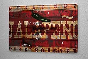M.A. Allen Rétro plaque en métal emaillee US Déco Spicy Spicy Hot poster Jalapeño publicité piment