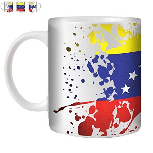 STUFF4 Tee/Kaffee Becher 350ml/Venezuela/Flaggen der Welt Splat/Weißkeramik/ST10