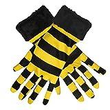 Das Kostümland Kurze Handschuhe zum Bienenkostüm mit Fellbesatz - Gelb Schwarz