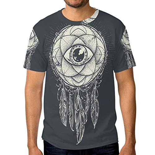 FANTAZIO - Camiseta de Manga Corta para Hombre, diseño de atrapasueños, Cuello Redondo 1 XXL