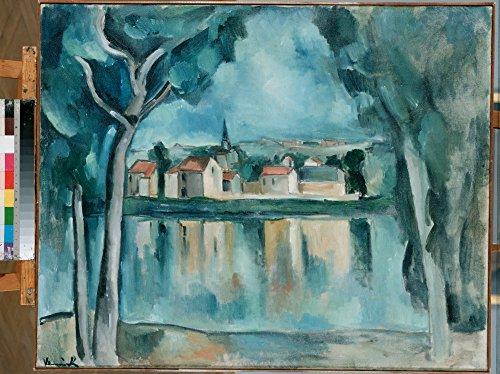 Das Museum Outlet–Vlaminck, Maurice de–Town auf der Bank von einem See, gespannte Leinwand Galerie verpackt. 40,6x 50,8cm