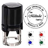 Aolun Personnalisée Stamp Ronde Auto-encreur, personnalisé Stamp-Diameter 40 mm Tampons en Caoutchouc avec 4 en Option d'encre Colours-Noir, Rouge, Bleu,Vert