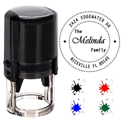 Personalisierte Stempel Runden,Individueller Stempel-Durchmesser 40mm Gummi Stempel mit 4 Optional Tinte Farben-Schwarz, Rot, Blau, Grün - Dem Mit Namen Gummi-stempel