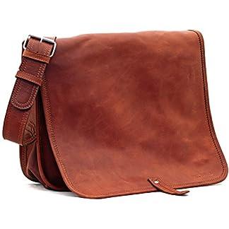 51zWL8ZUCSL. SS324  - LE MESSAGER (M) color natural, bolso de escuela, bolso del estudiante, (apropiado para A4), color marrón PAUL MARIUS Vintage & Retro