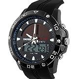 sport dual time calendario impermeabile luminosa quarzo orologio da polso energia solare per gli uomini ragazzi-nero lunetta