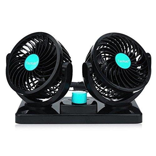 Auto Kfz Lüfter 12V 360 Grad Drehbar 2 Geschwindigkeit Dual-Kopf Auto Kühlung Luft Umwälz Taotuo Ventilator