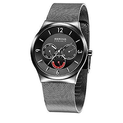 Bering Time Ceramic - Reloj de cuarzo para hombre, con correa de acero inoxidable, color negro de Bering Time