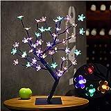 Albero luminoso LED, 48 LED, lampada fiori di ciliegio, 45 cm, luce di albero per la decorazione di interni multicolore