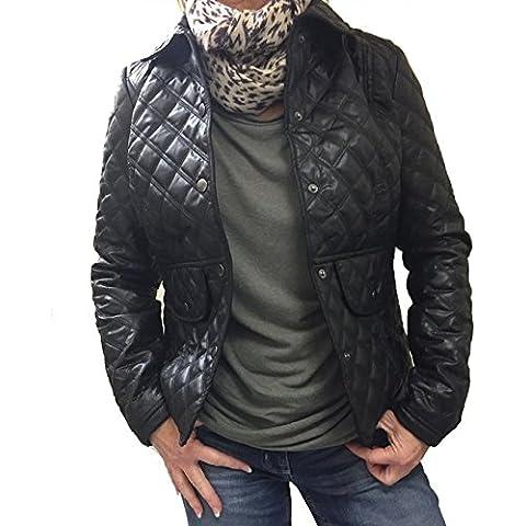Para mujer chaquetas de PVC Piel Sintética Acolchado Piel Sintética Chaqueta Acolchada para niña funda