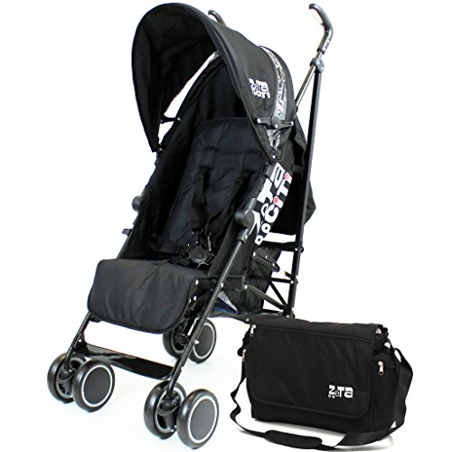 Zeta Citi Stroller Buggy Pushchair - Black Complete With Bag
