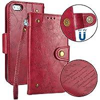 Cozy Hut Huawei P10 Lite Hülle, Huawei P10 Lite Echte Rindsleder Brieftasche Hülle [Premium Leder Serie] [Wallet Case] Praktishe Ledertasche [Rot] Integrierter Aufstell Funktion und 5 K