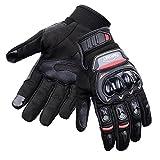 CARCHET Motorradhandschuhe Sommer 1KP Motorrad Handschuhe aus Leder Touchscreen Wasserdicht Fallschützend mit Harter Schutzhülle Rutschfest Fahrradhandschuhe Atmungsaktiv für Damen und Herren (XL)
