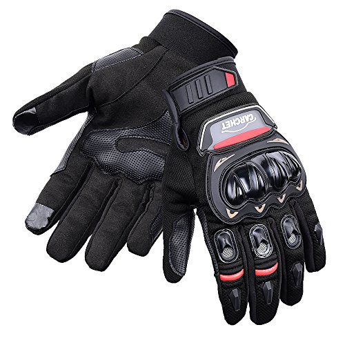 CARCHET Motorradhandschuhe Sommer 1KP Motorrad Handschuhe aus Leder Touchscreen Wasserdicht Fallschützend mit Harter Schutzhülle Rutschfest Fahrradhandschuhe Atmungsaktiv für Damen und Herren (L) (Motorrad-lenker-handschuhe)