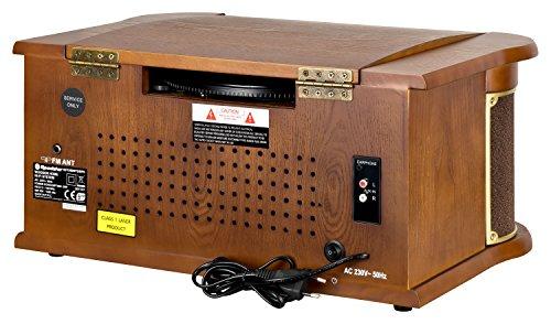 Roadstar HIF-1990 Retro Stereo-Anlage mit Plattenspieler, Kassette, CD-Player und Radio (UKW / MW, CD / MP3, USB, beleuchtetes LCD-Display, Fernbedienung, 40 Watt Musikleistung), braun - 5