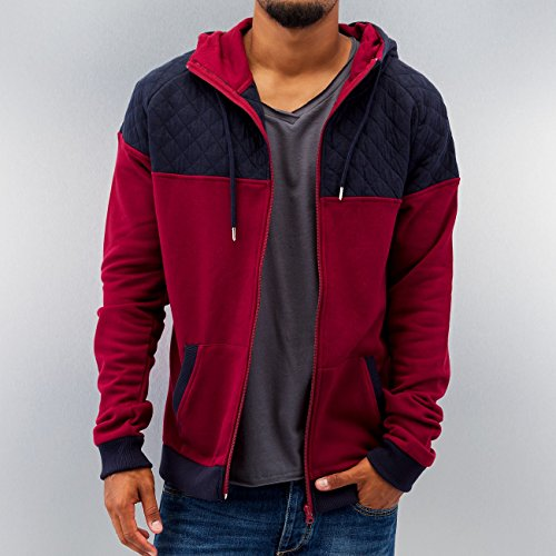Urban Classics Zip Hoody Diamond Block, Color:burgundy/navy;Größe:XL
