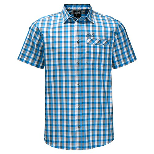 Jack Wolfskin Herren Napo Shirt, Herren, Ocean Blue Checks, xxxl (Down Button Check Blue Shirt)