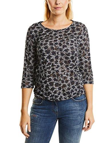 CECIL Damen Langarmshirt 311542 Grau (Dark Silver 30126), XX-Large (Burnout Floral Grau Top)