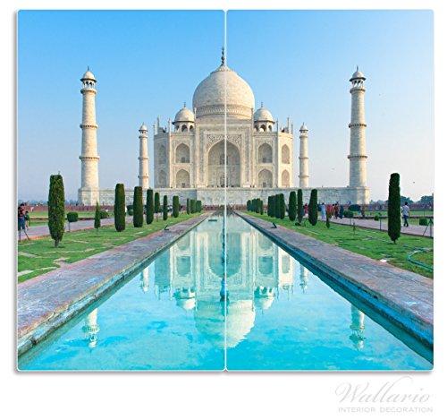 Wallario Herdabdeckplatte / Spritzschutz aus Glas, 2-teilig, 60x52cm, für Ceran- und Induktionsherde, Taj Mahal - Mausoleum in Indien