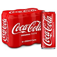 Coca-Cola Regular Carbonated Soft Drink in Can, 330 ml (Pack of 6)