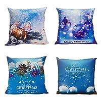 أغطية وسائد عيد الميلاد من بلو سبيس الناعمة أغطية وسائد عيد الميلاد غطاء وسادة ديكور 18x18 لأريكة سرير السيارة، مجموعة من 4 قطع، سلسلة بيضاء