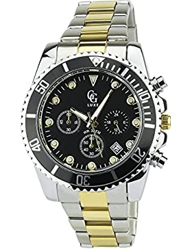 Herren Armbanduhr GG LUXE Schwarz Quarz Gehause Stahl Analog Display Typ Armband Stahl Bicolore Datum
