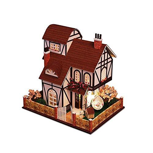 dwlxsh puzzles 3d miniatura casa de muñecas diy kit flor ciudad serie accesorios de las muñecas casas con muebles led de la caja de música, regalo de cumpleaños día de san valentín