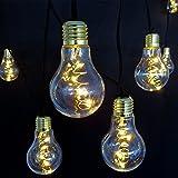 Lichterkette 10x Deko-Birne Glühbirnen mit je 5 LED warmweiß an Kufperdraht für innen außen Garten