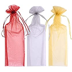 Blulu Organza Wine Bottle Bags Wine Gift Bags 6.5 By 15 Inch, Gold, Silver & Wine Red, 24 Pieces