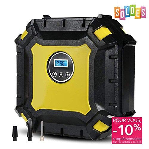 VFclar Elektrische Luftpumpe, 12V 120PSI Digital Portable Luftkompressor mit LED Leuchten LCD Display für Auto, LKW, Fahrrad und Fußball, inkl. 3 Adapter und 3M Ladekabel