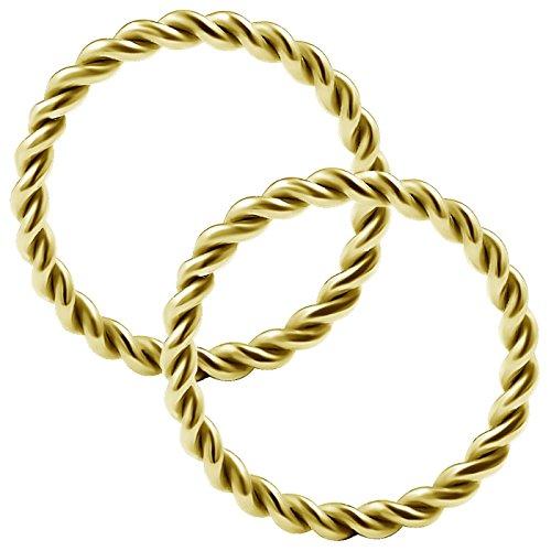 2 Stück Twisted-Kabel nasenpiercing ring 1.2mm eloxiert Nasenring nose Nasen Hoop Nase Ring edelstahl GDAN - 10mm
