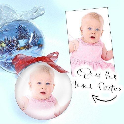 Palla di natale decorazione addobbo personalizzata con foto stampata all'interno diametro palline 9 cm