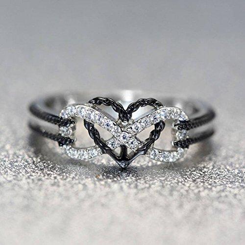 Thumby Kreatives Mode-Blumen-Muster-Liebes-Herz Formte Ring-8K Goldfarben-Muster-Ring-Frauen Herz-Geformtes Diamant-Satz die Art der Frauen Sterlingsilber Eingelegte Edelsteine, Schwarzes Gold, 10 - Ring-sätze Gold Diamant-hochzeit
