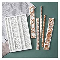 Cake Stencils, DIY Baroque Scroll Relief Cake Border Silicone Mold Frame Fondant Cake Decorating Tools Candy Chocolate Gum Paste Mould,1Pcs